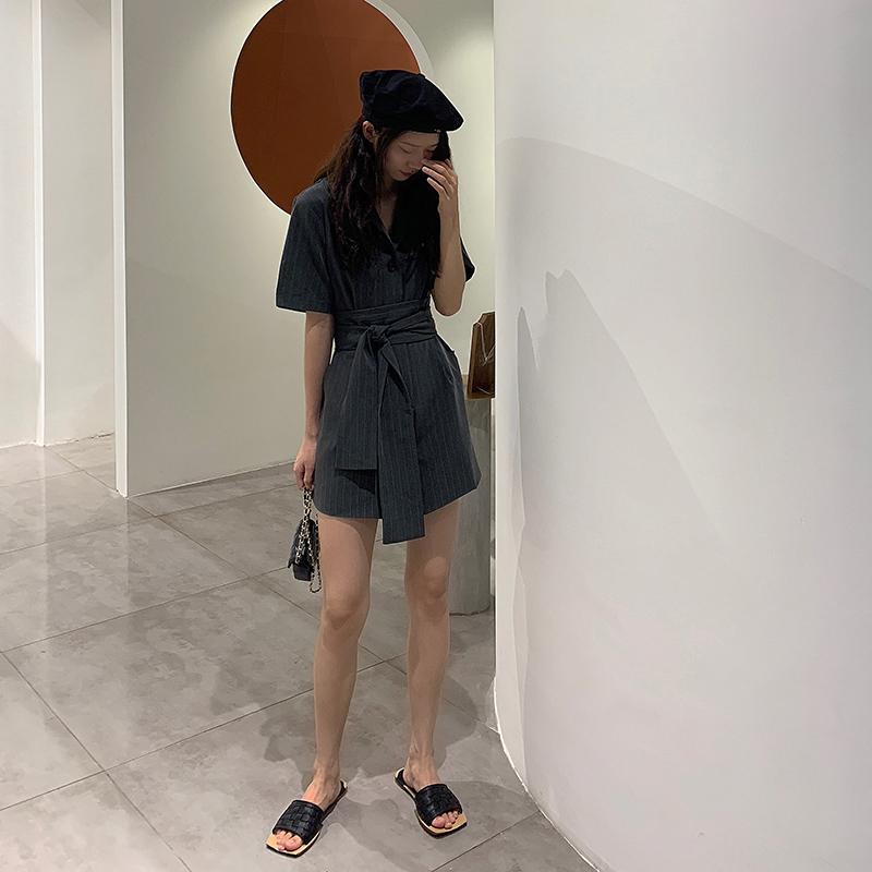 套装连女士衣裤2019夏季新款宽松阔腿条纹裤子系带短裤连体
