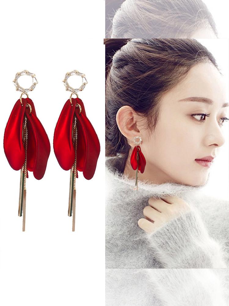 中國代購|中國批發-ibuy99|韩国红色玫瑰花瓣耳环长款流苏链条耳环耳坠气质网红2021夏新款潮