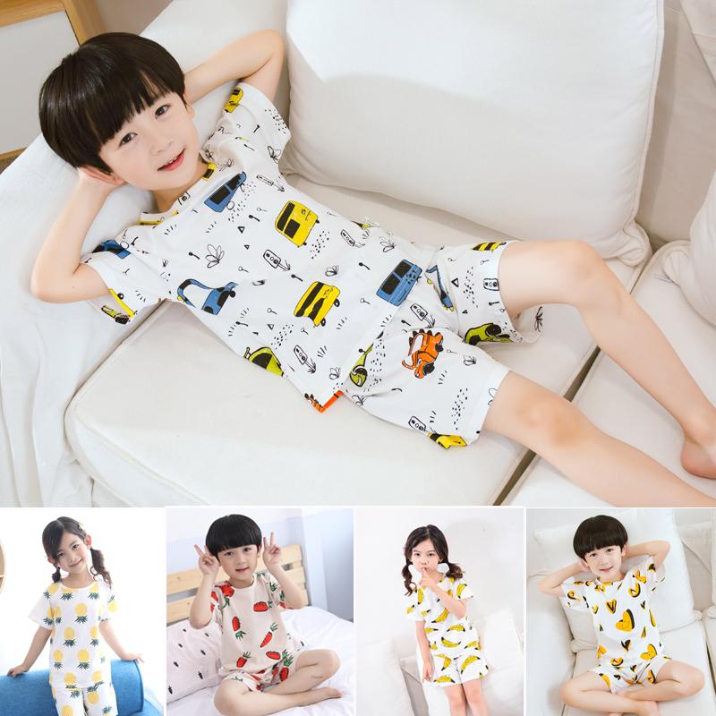 男童女童小童睡衣夏季纯棉短袖家居服儿童薄款空调服宝宝夏天套装