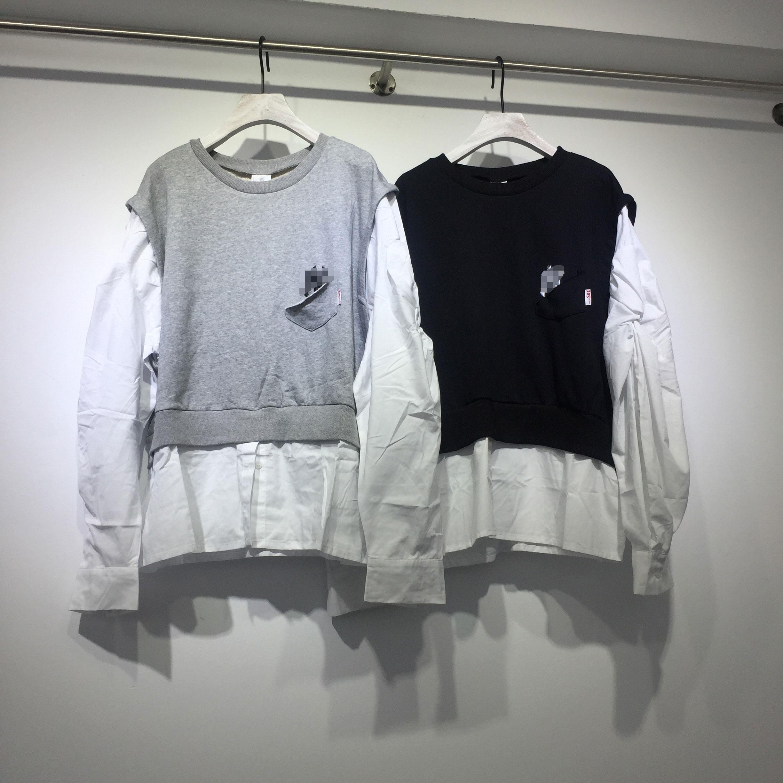 s&she2019初秋新款韩版insv袖子感袖子衬衫拼接假两件卫衣女宽松潮