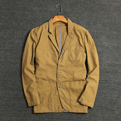 American casual suit male autumn jacket comfortable texture beads canvas fabric washed cotton men