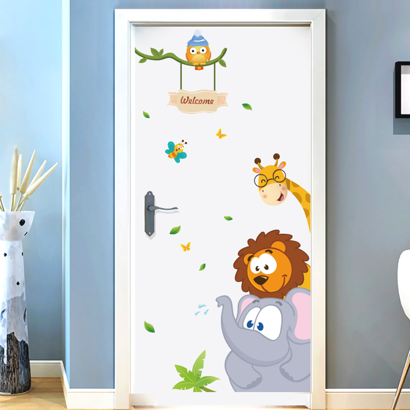 Jungle Small Animals Children S Room Cartoon Wall Painting Wall Stickers Girl Bedroom Bedside Wall Decoration Stickers