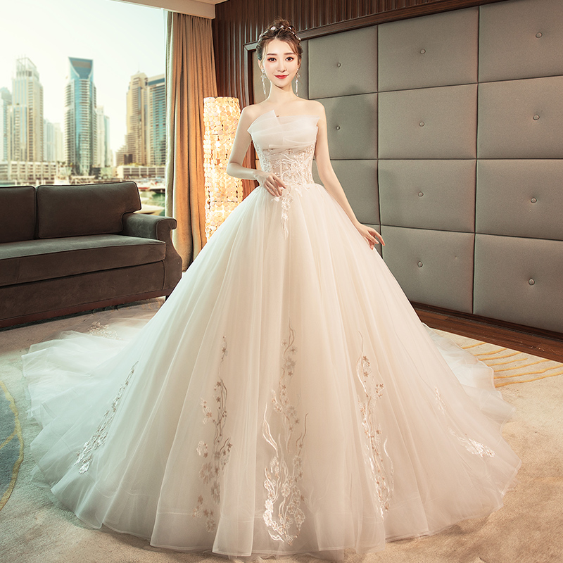 be49a94b798 Wedding dress 2019 new spring Korean bride wedding tube top was thin  Princess sexy halter dream long tail