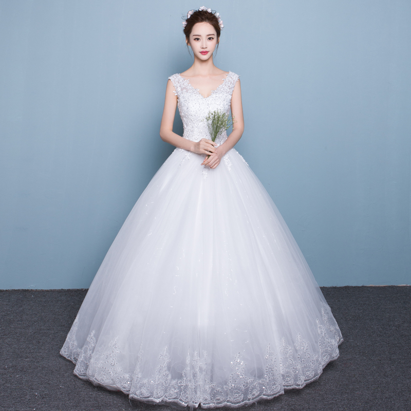 e658682be8 Wedding dress Korean shoulder v-neck was thin Princess large size Qi to  2019 new female long tail bride married