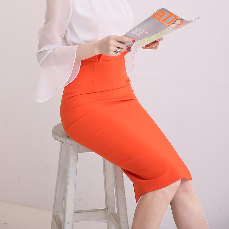 弹力包臀半身裙2019夏季新款韩版通勤高腰一步裙百搭纯色修身中裙