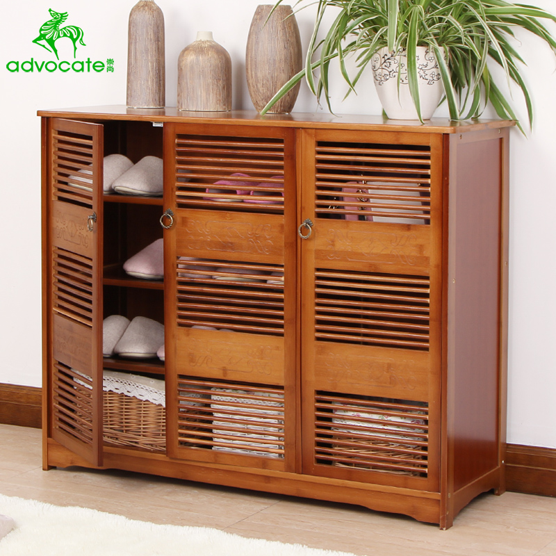 Door Shoe Cabinet Solid Wood Multi Storey Shoe Cabinet Bamboo Shoe Rack  Simple Modern Storage