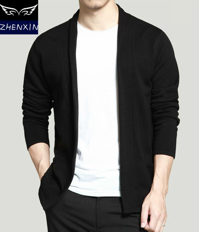 春季款男士针织衫韩版开衫学院风修身V领毛衣男线衫外套潮男线衣