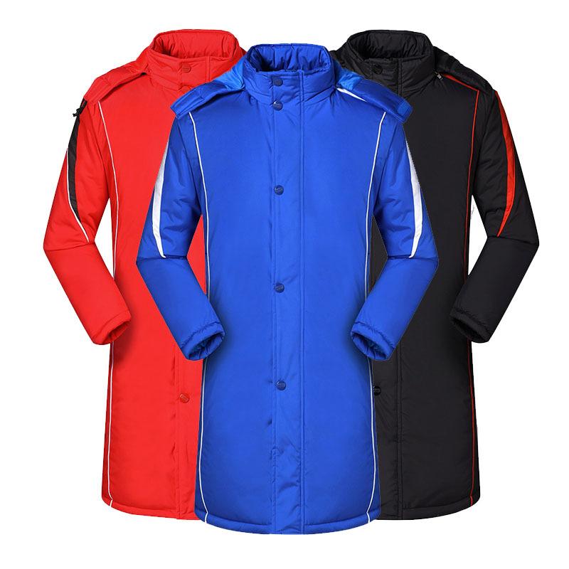 冬季运动足球外套长款棉衣棉服加厚运动大衣冬训训练男士儿童大码