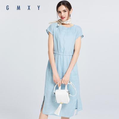 Gumu Xiyang GMXY mùa hè mới ngắn tay eo linen dresses của phụ nữ đô thị giải trí fan art Sản phẩm HOT