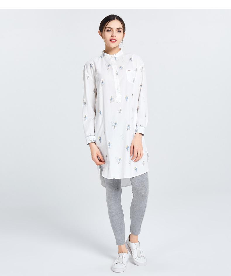 Gỗ cổ buổi tối cừu GMXY2018 mùa xuân của phụ nữ diều mới in áo váy L571303