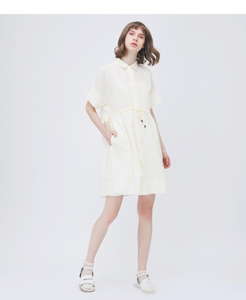 Gỗ cổ buổi tối cừu GMXY2018 mùa hè của phụ nữ new X-type sọc dress L573918 áo đầm đẹp tuổi 30