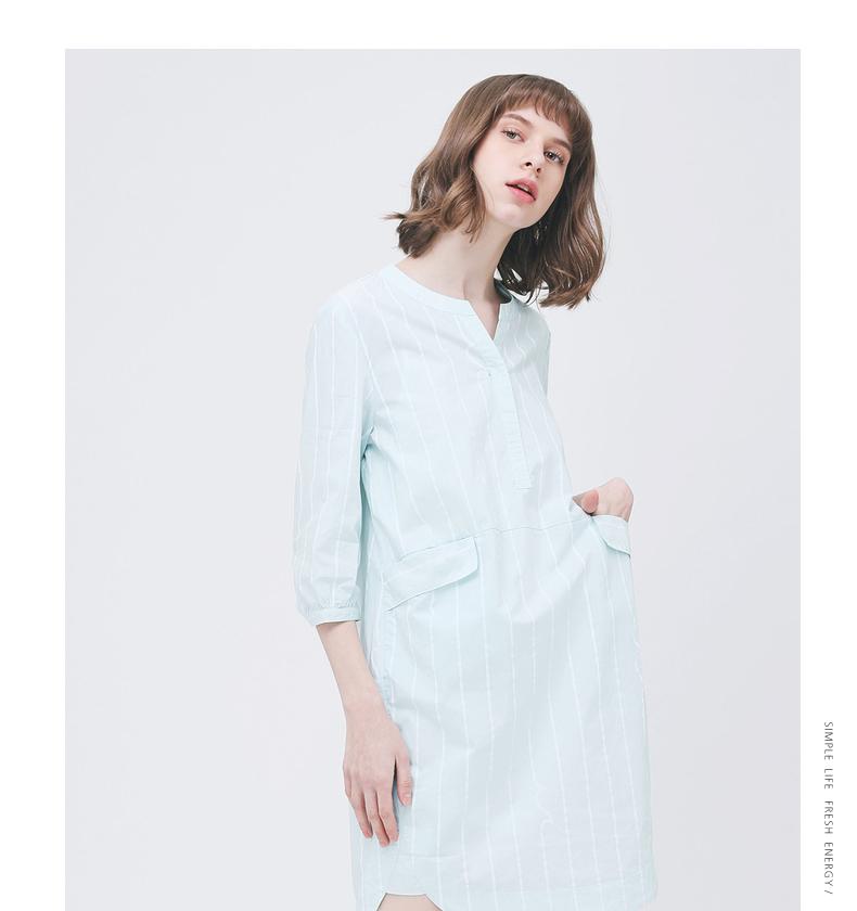 Gumu Xiyang GMXY2018 mùa hè của phụ nữ mới sóng sọc ăn mặc-loại váy nữ V-cổ váy