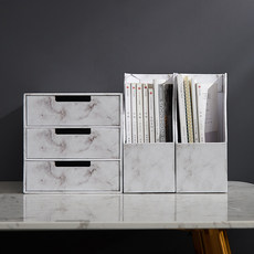Paper marble desktop storage box office document shelf storage data file sorting box Nordic style