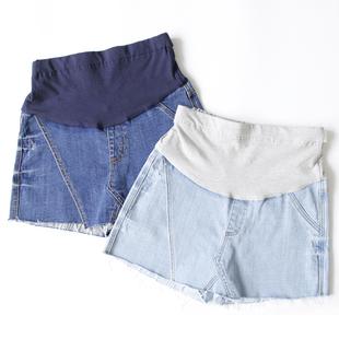 【清仓】孕妇假两件牛仔短裤托腹外穿