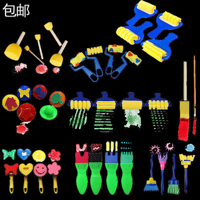 Kindergarten diy painting graffiti art material round rubbing tool rubbing seal mushroom head children sponge brush