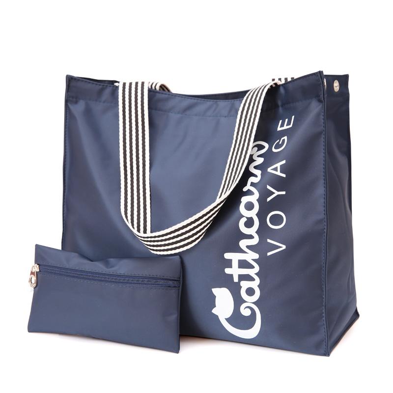 牛津布防水帆布尼龙单肩旅行包女包大容量环保购物袋小包包送大包