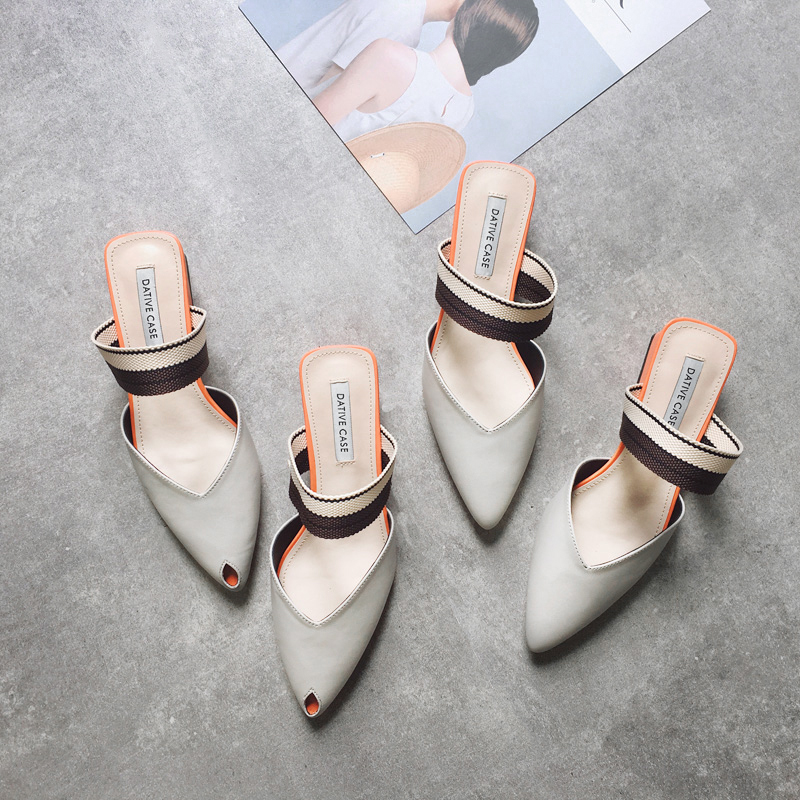 8b954c0fd220 ... the grid sandals slippers female summer fish mouth tip with the head  with the half slippers Korean version of the cool spell color mule thick  heel shoes
