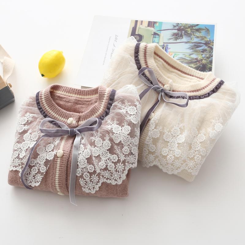 女童针织衫开衫外套春秋洋气19韩版婴儿童蕾丝领毛衣宝宝秋装上衣