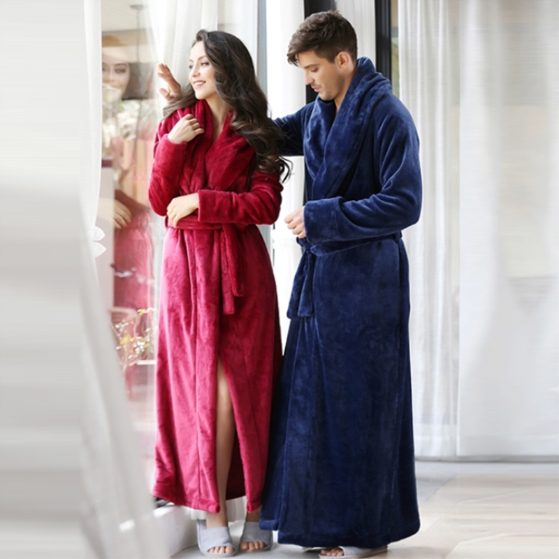 11964470f6 High-end men and women couples long long thick coral velvet large size robe  bathrobe pajamas home service
