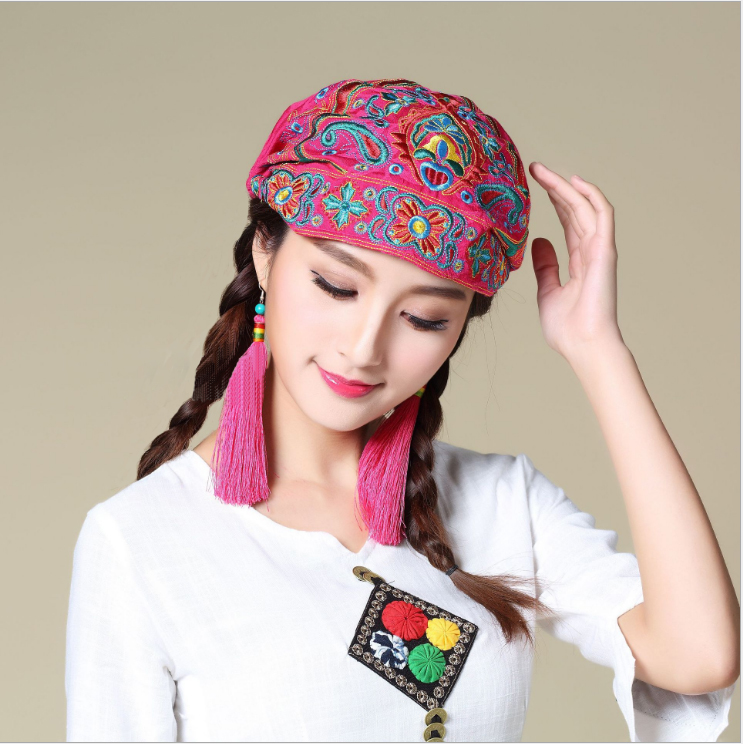 Головной убор Китайский национальный ветер вышивка цветок шапка шарф кепка Винтаж путешествии в Баотоу шапка Ян Липин том же пункте диких дамы шляпа