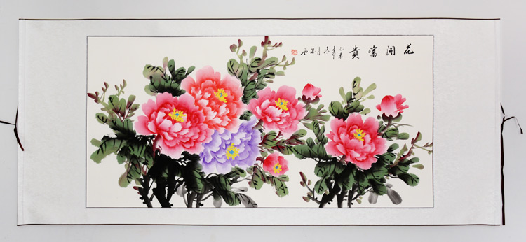 USD 23.35] Three feet Chinese painting Peony painted hand painted ...