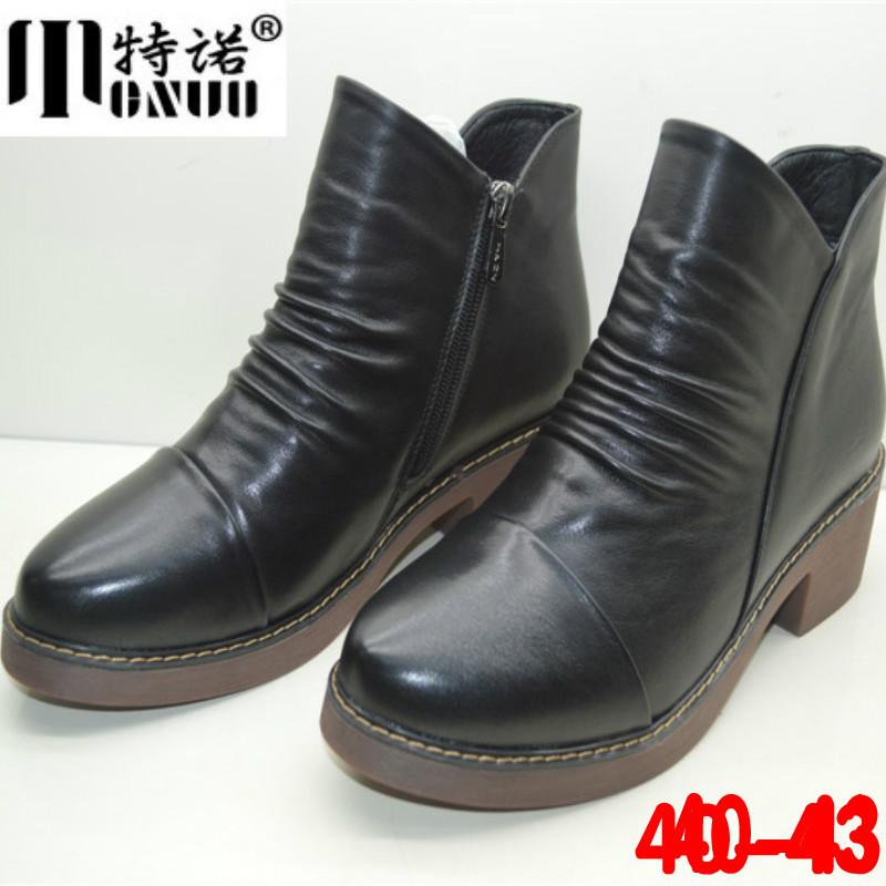 千足惠大码女靴410-43春秋大号女鞋真皮舒适短筒单靴全牛皮靴子