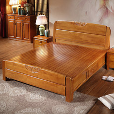 Special offer all solid wood bed 1.8 m 1.5m oak bed double simple Chinese furniture high box storage wedding bed 5 packs