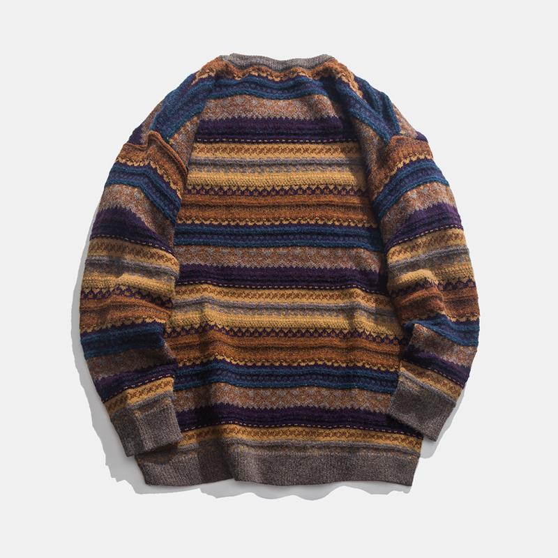 Áo len cổ tròn retro Nhật Bản cho nam mùa xuân và mùa thu Áo len phong cách quốc gia Hàn Quốc cho nam những chiếc áo len dài tay - Cặp đôi áo len