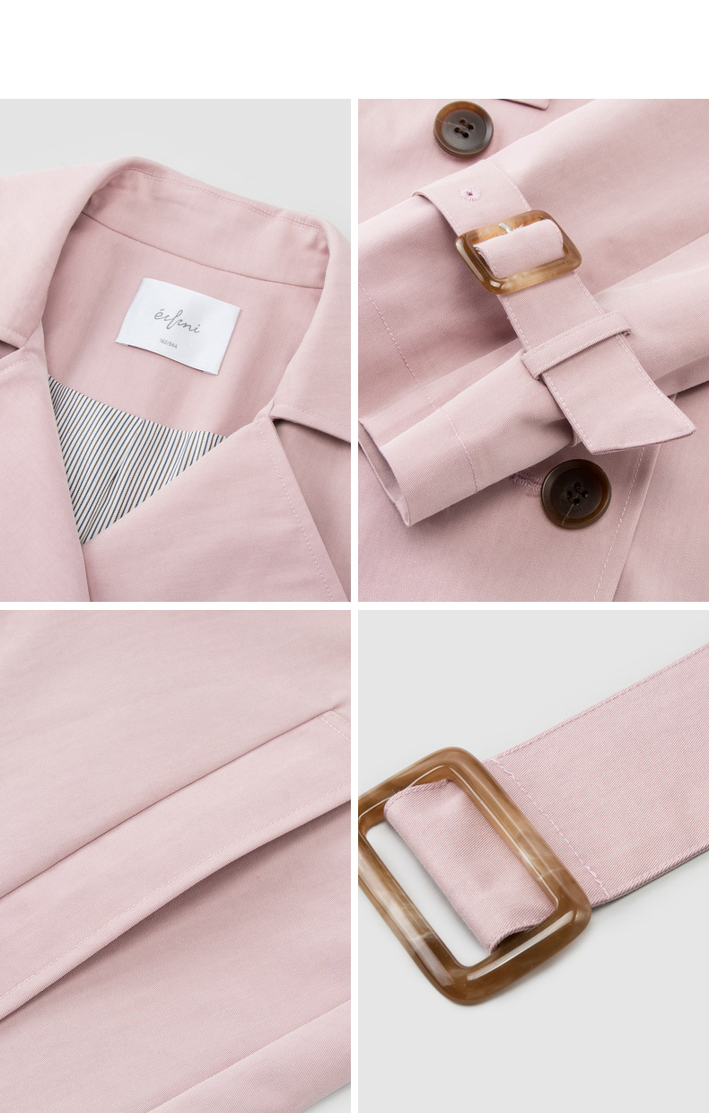 伊芙丽2018秋季新款韩版帅气简约风衣领 对称恻插口袋风衣外套女秋装