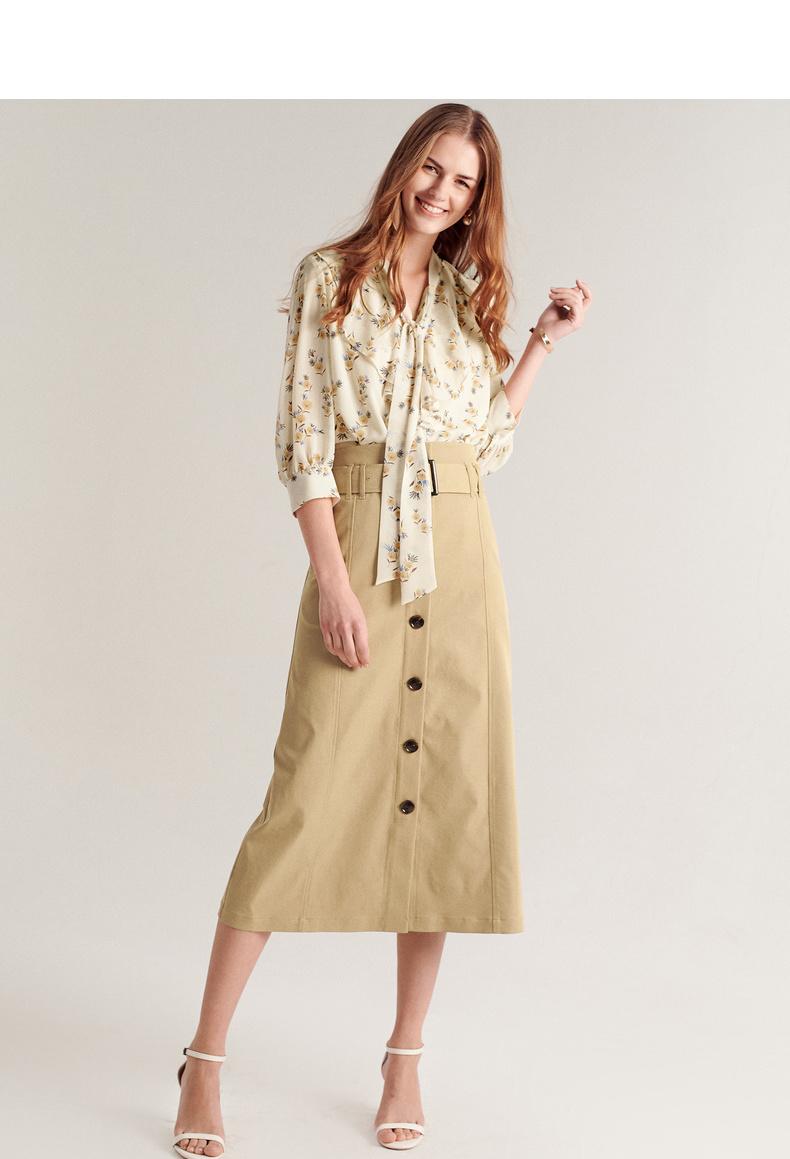 伊芙丽裙子女2019夏装新款气质高腰A型半裙 帅气工装风高腰半身裙 3