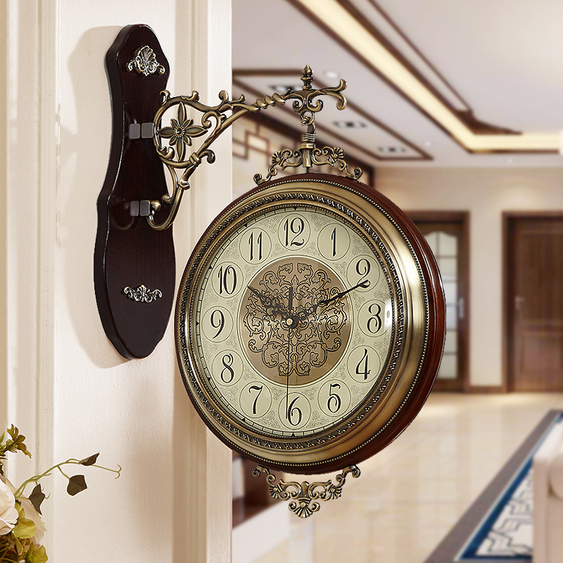 USD 81.09] Double-sided wall clock living room modern clock ...