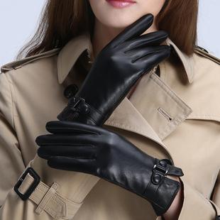 皮手套女秋冬保暖可爱触屏棉韩版