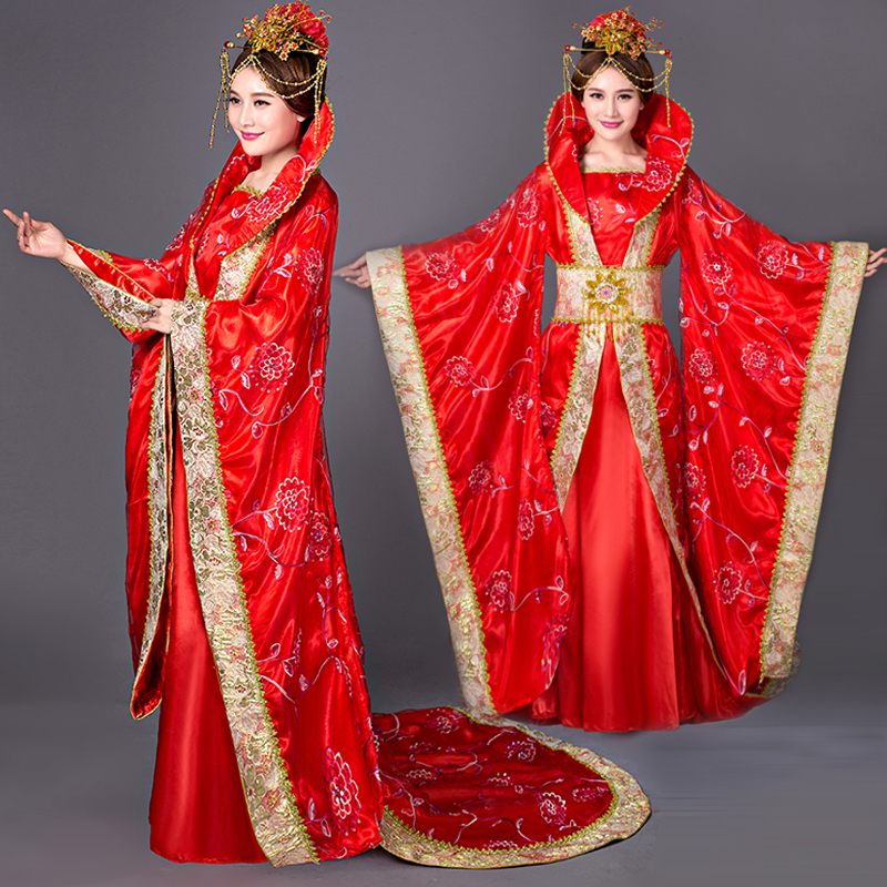 Chinese Folk Dance Dress Tang costume, imperial concubine, empress, cos costume, Princess Daming stage performance costume studio photo studio, tailed Hanfu