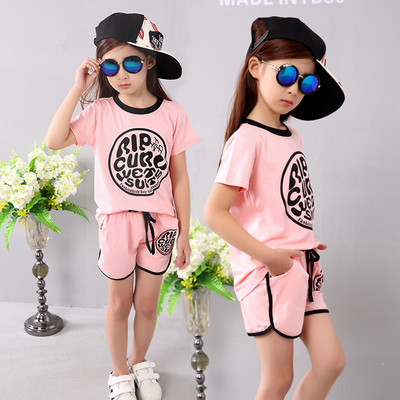 Girls sports suit 2018 new children's clothing summer Korean casual T-shirt + shorts two-piece suit