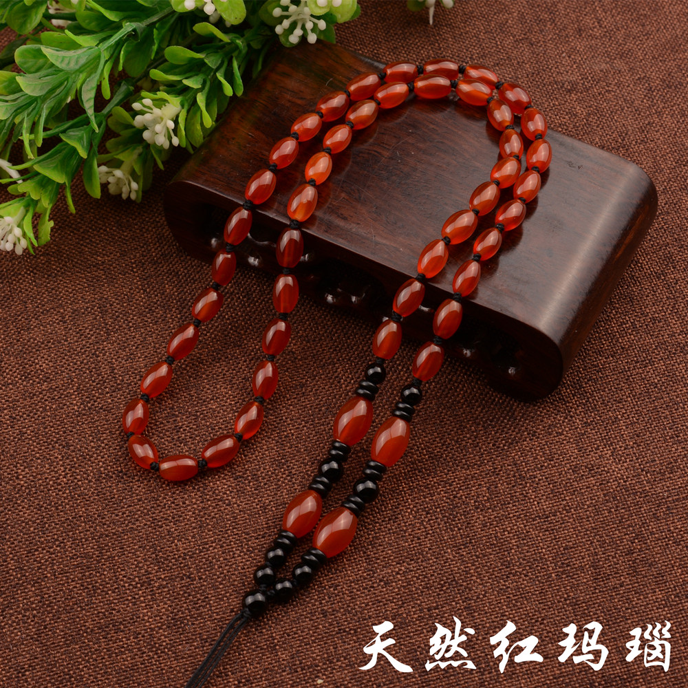 Natural red agate bead chain hand-woven necklace lanyard jade emerald beeswax jade pendant pendant pendant rope female models