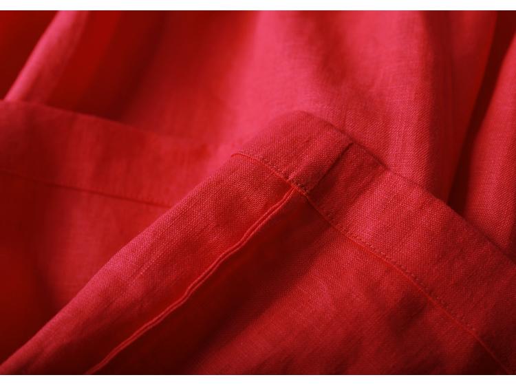 [Red mùa hè ~ đỏ] mười gỗ mét ban đầu 2018 mùa hè mới du lịch nghệ thuật linen vest váy với một vành đai