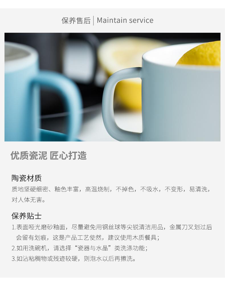 北欧哑光咖啡杯碟套装家用花茶杯下午茶杯碟简约陶瓷咖啡具牛奶杯详细照片