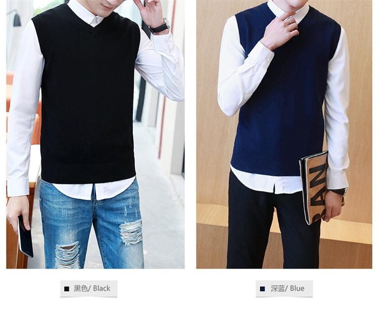 2018 mùa xuân và mùa thu vest nam áo len vest thanh niên V-đan tay Hàn Quốc phiên bản của triều đáy len vest quần áo mỏng