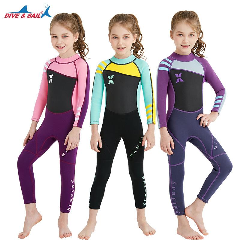 冬季防寒保暖学游泳衣儿童潜水服2.5MM连体女冲浪浮潜水母衣
