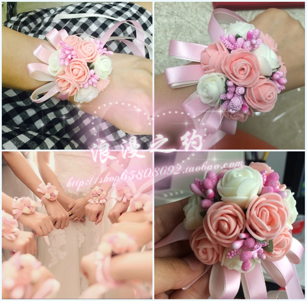 USD 4.60] Wedding supplies Korean bride wrist flower Bridesmaid hand ...