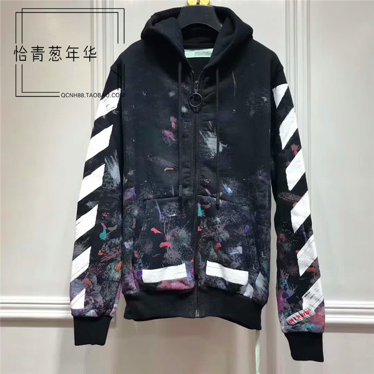 a3cf31737423 Genuine OFF-WHITE C O VIRGIL ABLOH star fireworks ink zipper ...