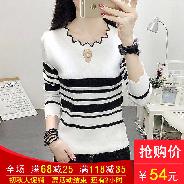 New all-match slim-fit pullover round neck striped long-sleeved color matching wavy top bottoming sweater sweater women trend