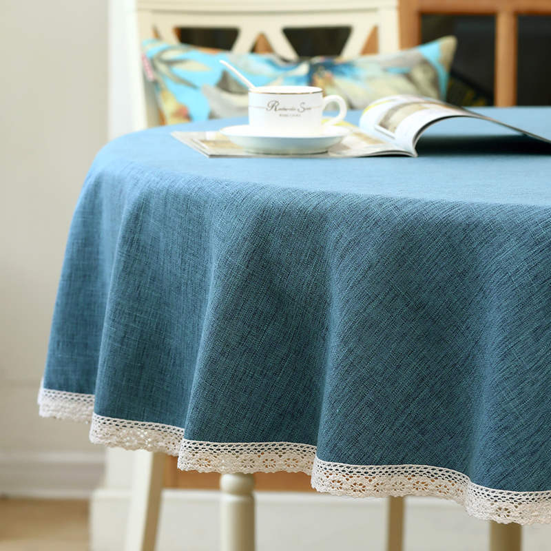 Large Round Table Cloth.American Solid Color Large Round Tablecloth Tablecloth Fabric Household Round Table Cloth Coffee Table Cloth Simple Modern Chinese