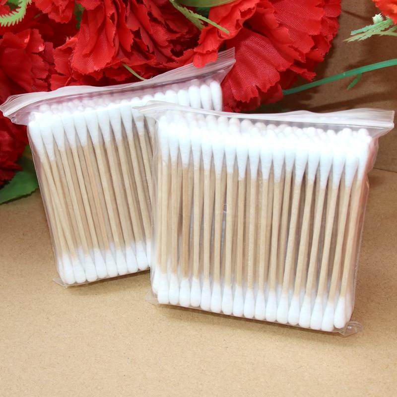 五百支袋装卫生棉棒双头木棒美容居家日用清洁棉签化妆卸妆