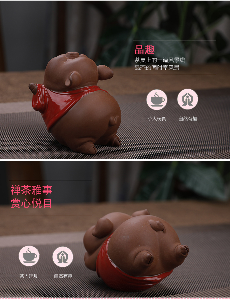 Creative lovely red ceramic piggy furnishing articles office tea tea pet home sitting room ark adornment furnishing articles
