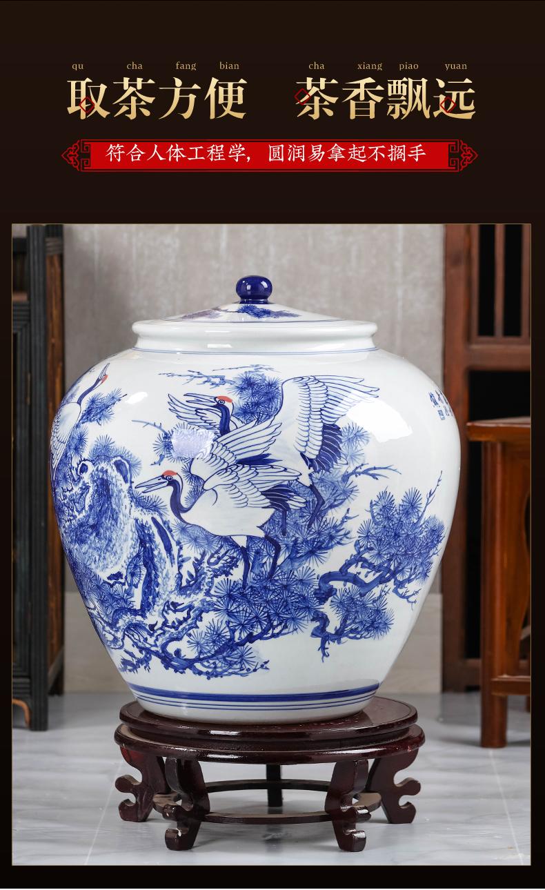 特大号手绘青花瓷普洱茶叶罐子陶瓷带盖茶缸40饼茶饼储存罐景德镇