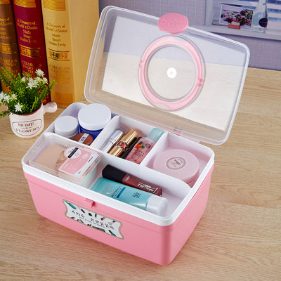 Hand-held plastic desktop storage box with lid cosmetics sundries office storage box multifunctional dressing storage box