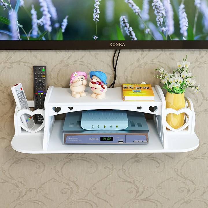 创意墙上电视机顶盒架免打孔置物架客厅路由器收纳盒壁挂卧室隔板