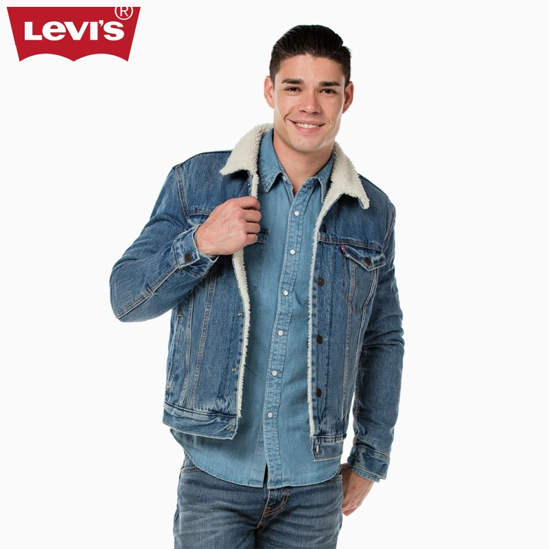 USD 288.49  Levi s men s fur collar denim jacket coat 16365-0040 ... ea678f262