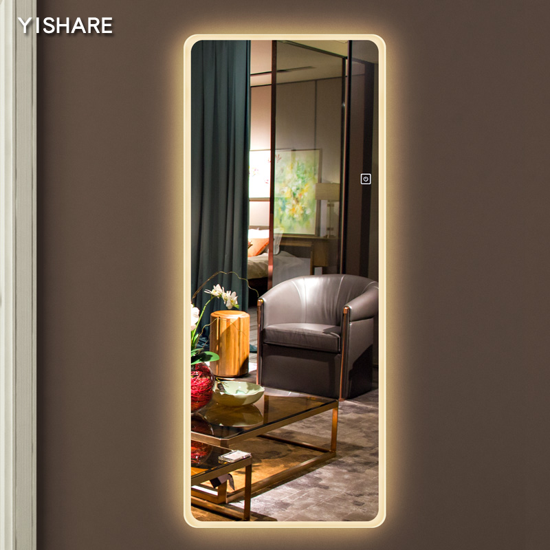 Yishare Frameless Dressing Mirror Led Lights Wall Full Body Rounded Hanging With